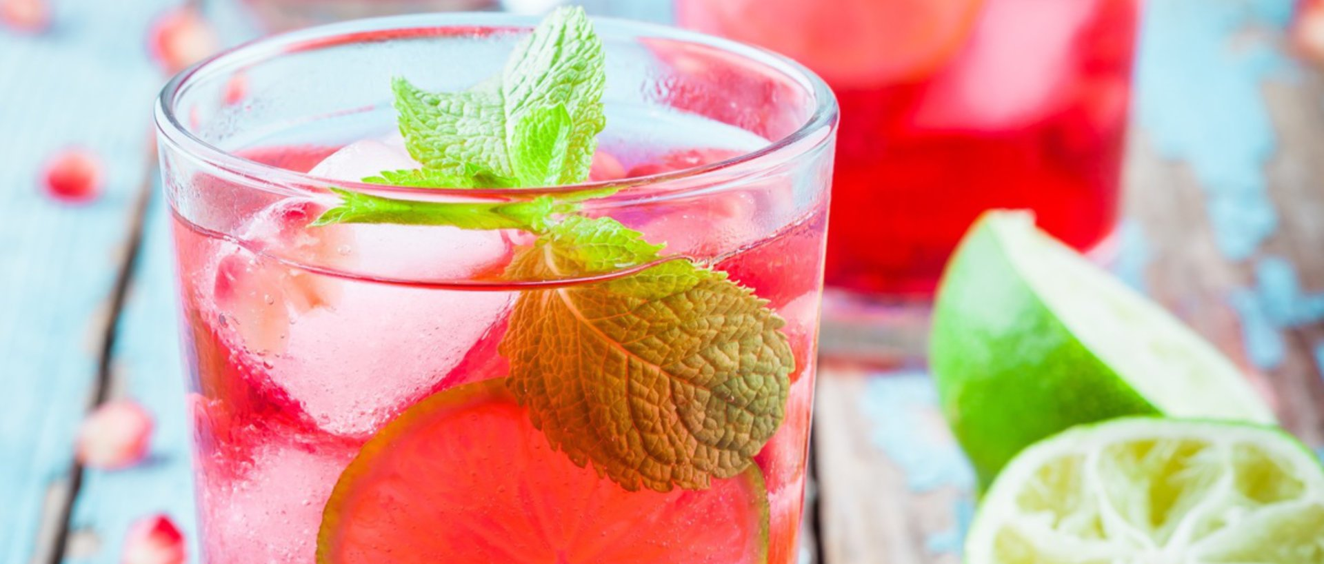 non alcoholic lime ginger pomegranate cocktail