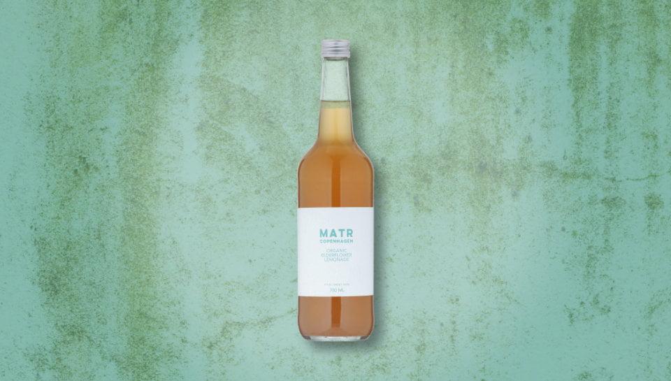 Organic Elderflower Lemonade in glass bottle