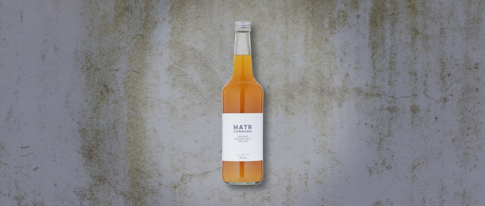Organic Passion Fruit Nectar in glass bottle