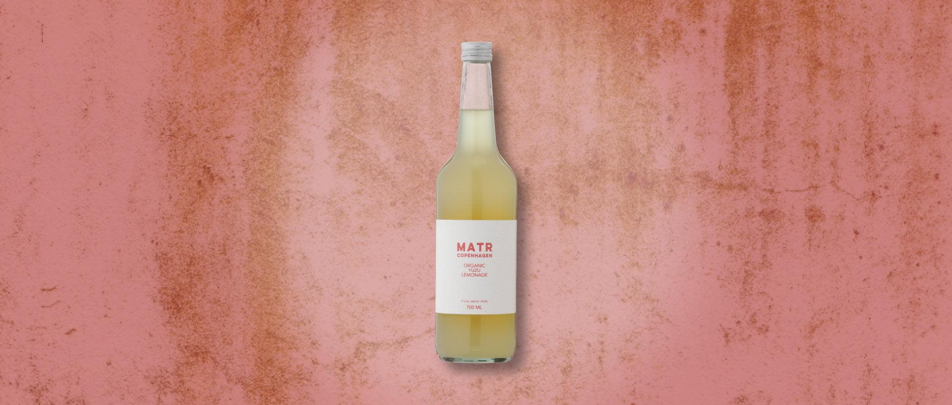 Organic Yuzu Lemonade in glass bottle